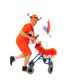 Funny senior Dutch soccer supporter Stock Photos