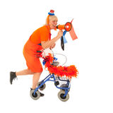 Funny senior Dutch soccer supporter Royalty Free Stock Images