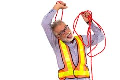 Funny senior engineer suicide rope. old man worker do self hanging dead neck royalty free stock photography