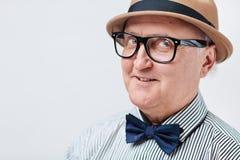 Funny senior man in hat Stock Image