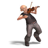 Funny senior plays the violin Royalty Free Stock Photos
