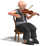 Funny senior plays the violin. 3D rendering of a funny senior playing the violin with clipping path and shadow over white Royalty Free Stock Photos