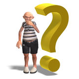 A funny senior with webpage elements Royalty Free Stock Photo