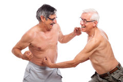 Funny seniors fight Stock Images