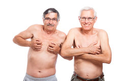 Funny seniors showing body Royalty Free Stock Photo
