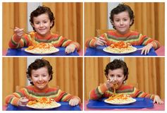 Funny sequece with a child eating spaghetti royalty free stock images