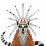 Funny serious Indian chief lemur. With feathers on the head and a red poncho. Digital illustration Royalty Free Stock Images
