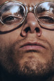 Funny serious man in glasses Royalty Free Stock Image