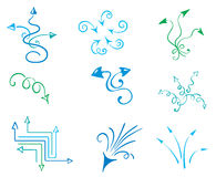 Funny set of arrows. Vector icons - funny blue arrows stock illustration