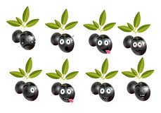 Funny set, collection of isolated, black olives Royalty Free Stock Image