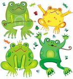 Funny  set of cute frogs. Vector set of four cute frogs isolated on white background Stock Image