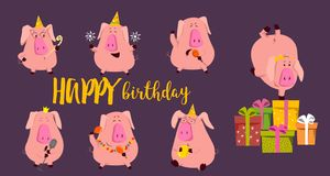 2019 Funny set with cute pink pig. Perfect for Birthday, Christmas, love greeting cards or lovely posters. Cool vector flat charac. Funny set with cute pink pig royalty free illustration