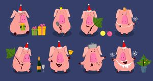 2019 Funny set with cute pink pig. Perfect for Birthday, Christmas, love greeting cards or lovely posters. Funny set with cute pink pig. Perfect for Birthday stock illustration