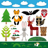 Funny set of cute wild animals, forest and clouds. Fox, bear, rabbit, raccoon, bat, deer, owl, bird. Royalty Free Stock Photo