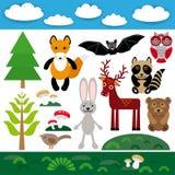 Funny set of cute wild animals, forest and clouds. Fox, bear, rabbit, raccoon, bat, deer, owl, bird. Royalty Free Stock Photo