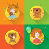 Funny Set with Girls and Bears Stock Image