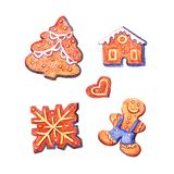 Funny set of isolated watercolor pencil Christmas gingerbread cookies. Hand draw illustration stock photos