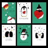 Funny Set Of Love Cards. Royalty Free Stock Photography