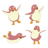 Funny set of penguin character dancing, jumping, sliding, waving Stock Photo