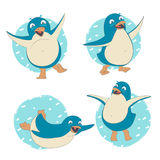 Funny set of penguin character dancing, jumping, sliding, waving Stock Image