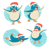 Funny set of penguin character wearing red Santa Claus hat (danc Stock Photos