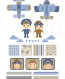 Funny set for scrapbook  with the boys pilots Royalty Free Stock Images