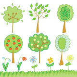 Funny set of trees and flowers Stock Images