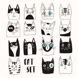 Funny set of vector cats. Big funny set of vector cats stock illustration