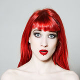 Funny & sexy expressive redhead girl Stock Images