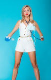 Funny sexy girl doctor nurse with syringe stethoscope Stock Photography