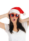 Funny sexy santa clouse woman in casual clothes Stock Images