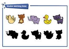 Funny shadow animal game. Vector illustration of shadow matching game with happy cartoon animals for children Stock Photography