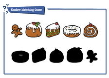 Funny shadow bakery game. Vector illustration of shadow matching game with sweet food for children Stock Photography