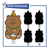 Funny shadow bear game. Vector illustration of shadow matching game with happy cartoon bear for children Royalty Free Stock Photo