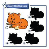 Funny shadow cat game. Vector illustration of shadow matching game with happy cartoon cat for children Stock Photo
