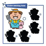 Funny shadow farmer game. Vector illustration of shadow matching game with happy cartoon farmer for children Stock Photos