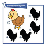 Funny shadow hen game. Vector illustration of shadow matching game with happy cartoon hen for children Stock Image