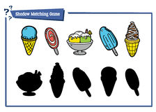 Funny shadow ice-cream game. Vector illustration of shadow matching game with cartoon ice-cream for children Royalty Free Stock Photo