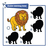 Funny shadow lion game. Vector illustration of shadow matching game with happy cartoon lion for children Royalty Free Stock Images