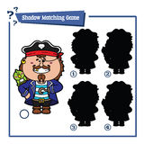 Funny shadow pirate game. Vector illustration of shadow matching game with happy cartoon pirate for children Stock Image