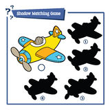 Funny shadow plane game. Vector illustration of shadow matching game with cartoon plane for children Royalty Free Stock Images
