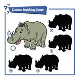 Funny shadow rhino game. Vector illustration of shadow matching game with happy cartoon rhino for children Stock Photography