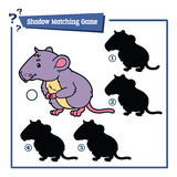 Funny shadow vole game. Vector illustration of shadow matching game with happy cartoon vole for children Stock Images