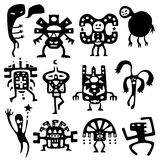 Funny shamans and spirits. Collection of cartoon funny shamans and spirits silhouettes Royalty Free Stock Images