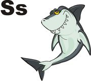 Shark and letters. Funny shark with black letters s Stock Image