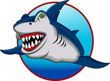Funny shark cartoon Stock Images