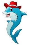 Funny shark cartoon wearing a hat Royalty Free Stock Image