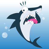 Funny Shark in Disgust Expression. Funny Shark in The Expression of Disgust Cartoon Illustration Royalty Free Stock Image