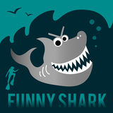 Funny shark with diver. Royalty Free Stock Image
