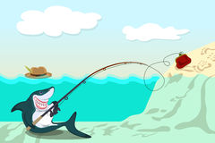 Funny shark. Lures the victim to purse Royalty Free Stock Photo